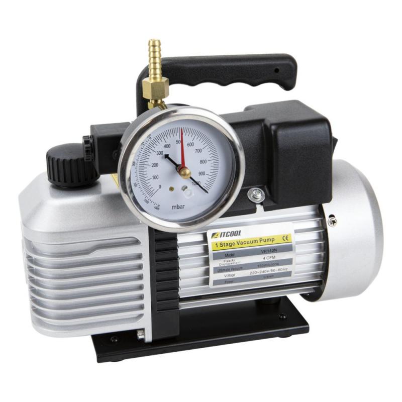 Vacuumpomp oliegesmeerd met vacuummeter PS-1.5-SV