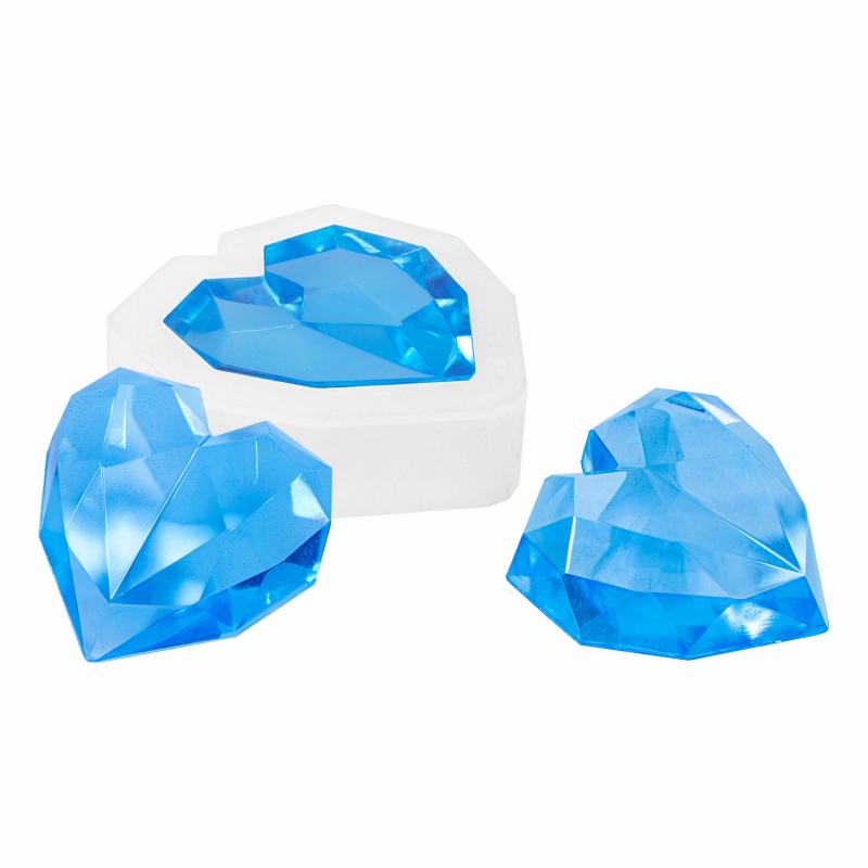 Gebruik deze siliconen mal voor de mooiste resin art sieraden in diamond heart vorm. deze mal is te gebruiken ...