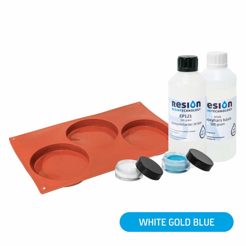 Resin Art onderzetter pakket white gold blue