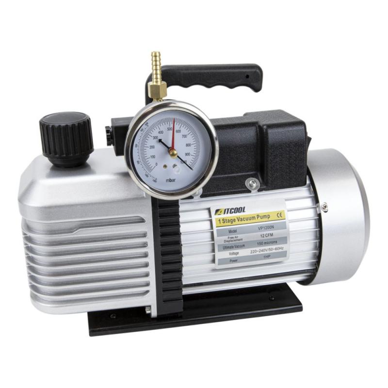 Vacuumpomp oliegesmeerd met vacuummeter PS-4-SV