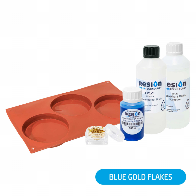 Resin Art onderzetter pakket blue gold flakes
